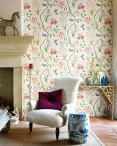 Wallpaper Pazia Matt Flower tendrils Butterflies Birds Cream Anthracite grey Golden yellow Grey white Green beige Light pink Pastel blue Crimson red