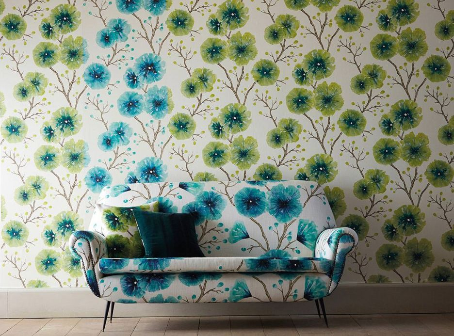 Floral Wallpaper Wallpaper Cerna green Room View