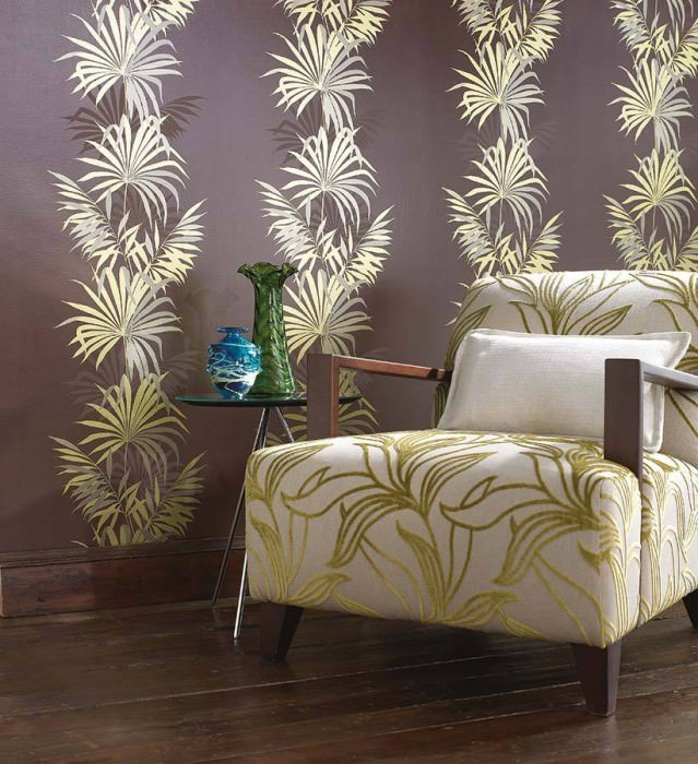 Wallpaper Avatara Shiny pattern Matt base surface Palm fronds Terra brown Yellow green lustre