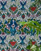 Wallpaper Jaime Matt Tigers Birds Branches with leaves and blossoms Cream Blue Shades of green Rose Red orange Turquoise