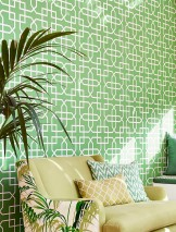 Wallpaper Ferro Matt Geometrical elements Grass-green Cream Matt silver