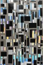 Wallpaper City of Light Hologram effect Metallic effect Shiny pattern Matt base surface Graphic elements Beige grey Black lustre Silver metallic