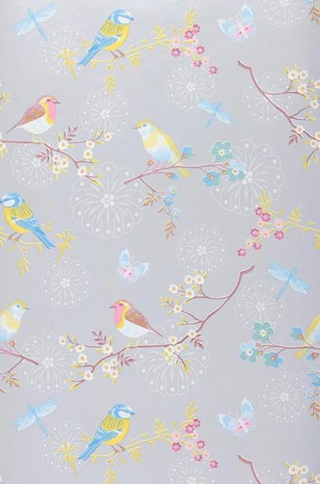 Papier peint Audrey Motif mat Surface chatoyante Fleurs Papillons Oiseaux Gris clair  Violet bruyère Jaune Bleu clair Brun cuivré Blanc