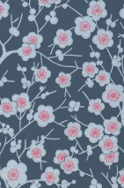 Wallpaper Laila Hand printed look Matt Flower tendrils Cherry blossoms Blue grey Red White grey
