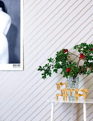 Wallpaper Diagonal cream Room View