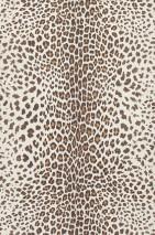 Wallpaper White Leopard Matt Imitation fur White shimmer Brown beige Sepia brown