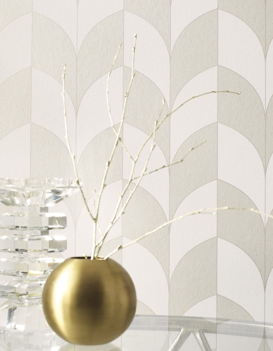 Wallpaper Caprice Matt Art Deco Bends Stripes Cream pearl lustre Cream Pearl beige