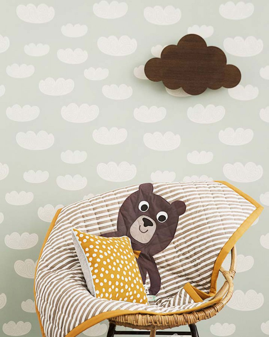 papier peint cloud vert pastel blanc cr me papier peint des ann es 70. Black Bedroom Furniture Sets. Home Design Ideas
