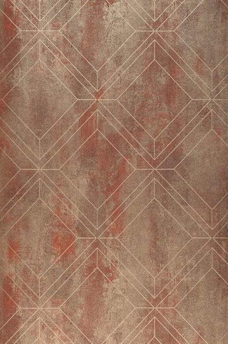 Wallpaper Malekid Matt Graphic elements Copper brown Matt gold