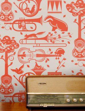 Papier peint Aubry orange rouge Vue pièce