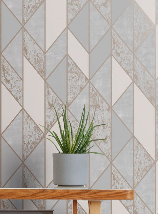 Geometric Wallpaper Wallpaper Lasmo grey tones Room View