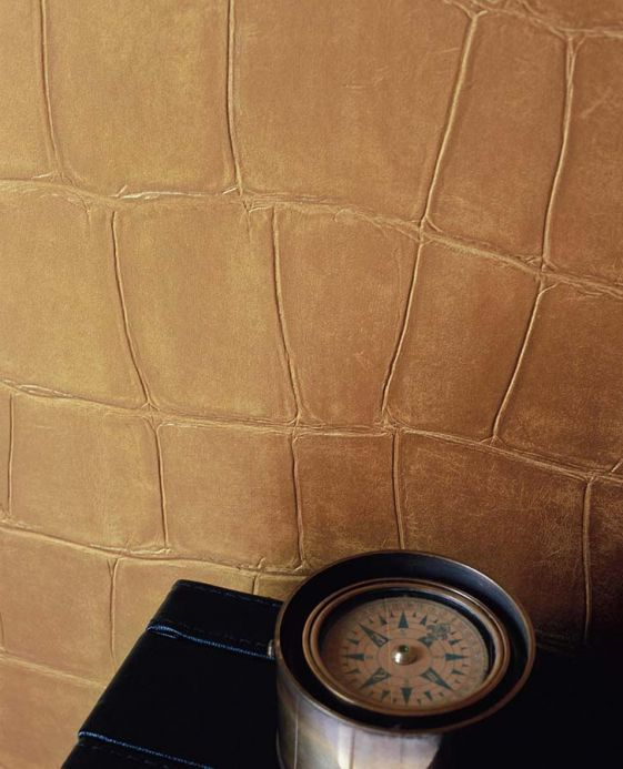 Faux Leather Wallpaper Wallpaper Croco 09 gold Room View