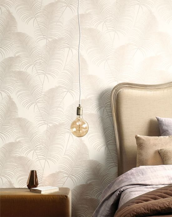 Botanical Wallpaper Wallpaper Milva grey beige shimmer Room View