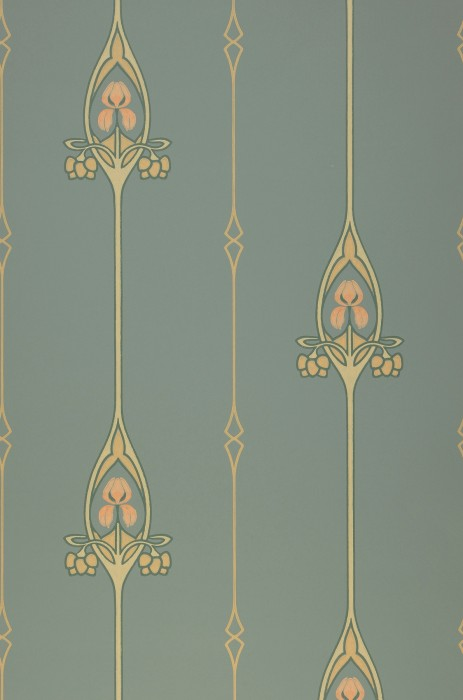 Wallpaper Danne Hand printed look Matt Floral damask Graphic elements Art nouveau Mint turquoise Beige Ivory Pine green Pale pink
