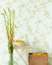 Papel pintado Thelma Efecto impreso a mano Mate Pájaros Ramas con hojas y flores Blanco verdoso Beige Verde azulado Naranja pastel Verde caña