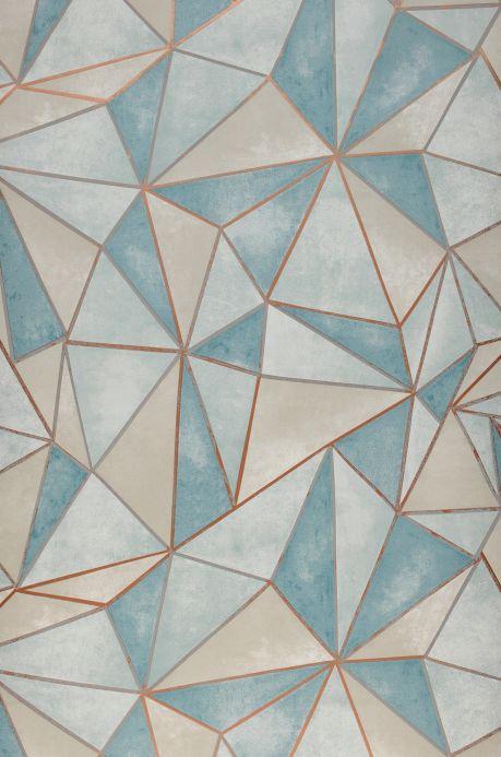 Papel de parede geométrico Papel de parede Mirage turquesa menta Bahnbreite
