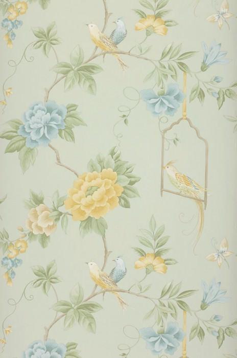 Papel pintado Venetia Mate Flores Pájaros Ramas Verde blanquecino Verde pálido Beige grisáceo Azul claro Amarillo arena