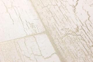 Papel pintado Atoras Mate Tablas de madera antiguas Blanco crema Oro perla