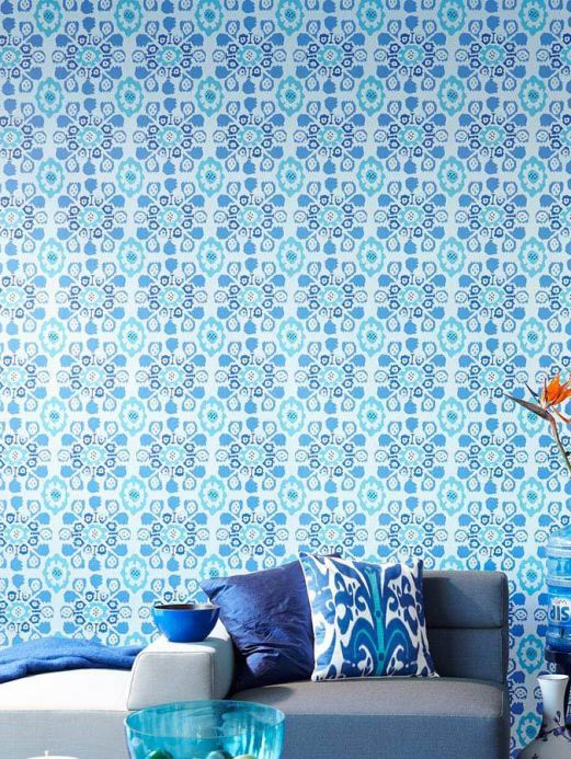 Archiv Wallpaper Rosane light blue Room View