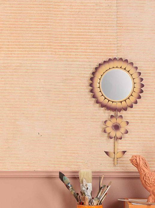 Papier peint à rayures Papier peint Jambhala rosé pâle Vue pièce