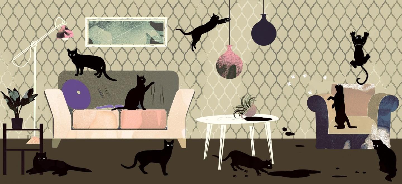 ¡Bigotes de gato (o perro)! ¿Qué papel pintado es adecuado para hogares con animales domésticos?