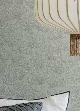 Wallpaper Ginkgo agate grey Raumansicht