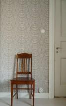 Wallpaper Rosmery Hand printed look Matt Art nouveau damask Grey Grey white