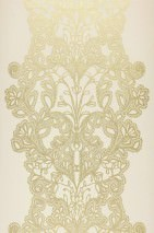 Wallpaper Persephone Shiny pattern Matt base surface Stylised flower embroidery Cream Gold