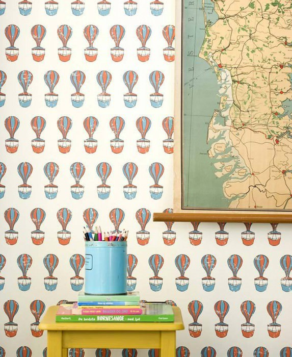 Wallpaper Ferris Matt Hot-air balloons Cream Red Turquoise blue