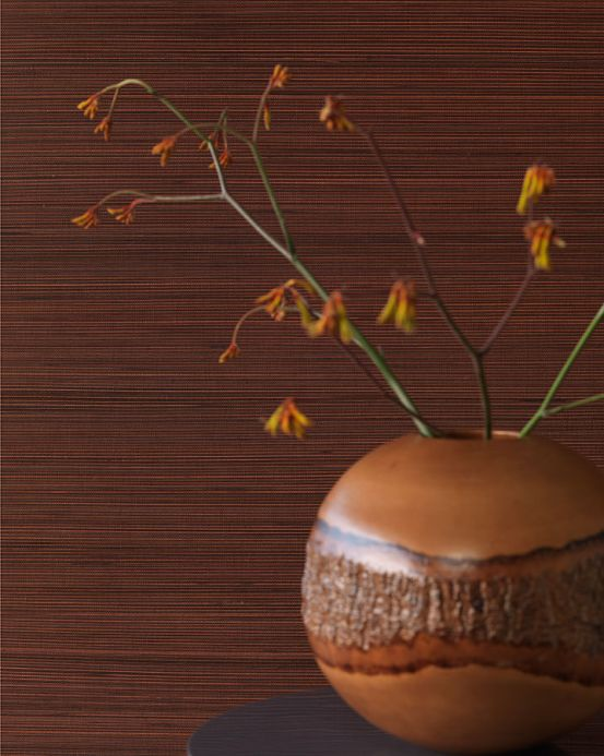 Natural Wallpaper Wallpaper Thin Bamboo Strips 01 copper brown Room View