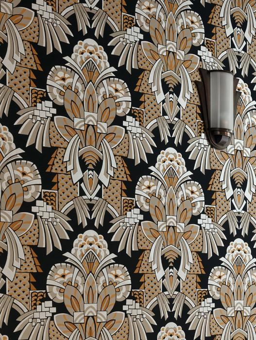 Papier peint Demetrius Mat Art Déco Éléments graphiques Gris noir Doré brillant Beige gris Ocre Beige nacré