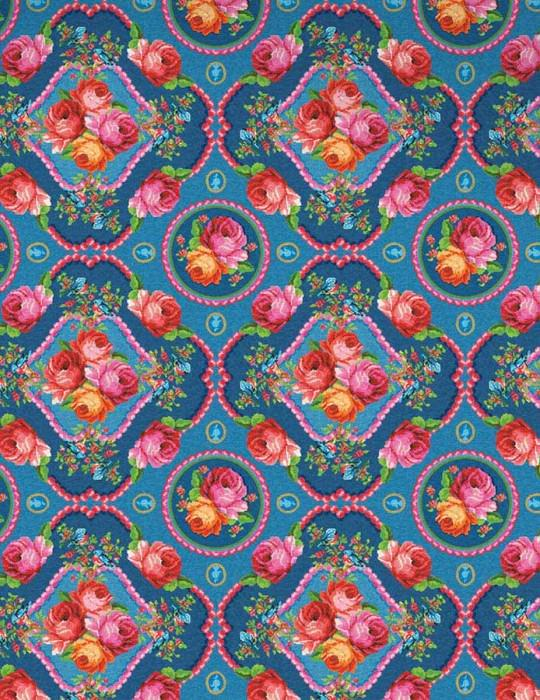 Wallpaper Wabasso Matt Flowers Floral damask Light blue Blue Yellow green Pink Red