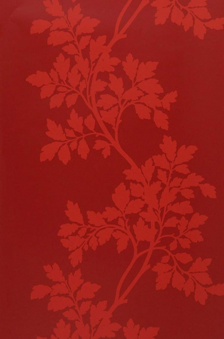 Wallpaper Proteus Matt Leaf Tendrils Ruby Red Roll Width