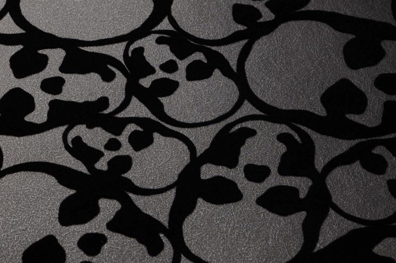 Skulls antracita negro papel pintado flocado for Papel pintado de los 70