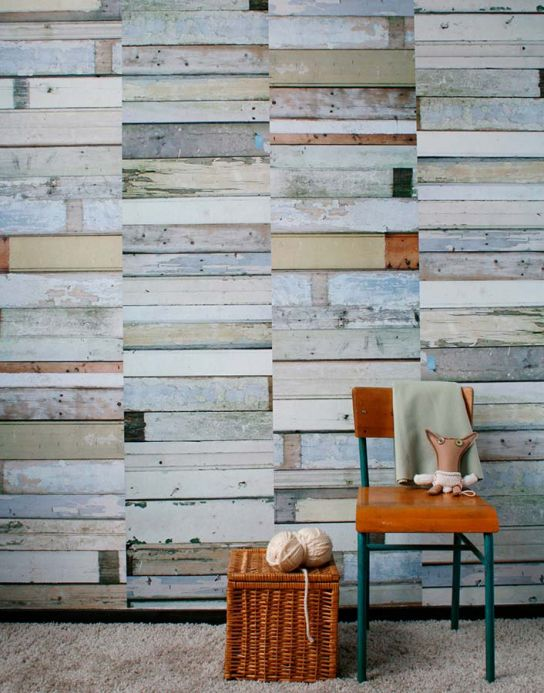 Studio Ditte Wallpaper Wallpaper Scrapwood 11 grey Room View