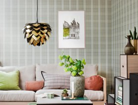 Wallpaper Amira Matt Plaid Green beige Beige grey Grey white Olive green