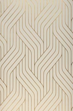 Papel pintado Flapper blanco crema Bahnbreite