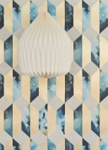 Wallpaper Jerom Matt Squares Trapezoids Ocean blue Pastel turquoise Pearl gold Silky grey