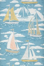 Wallpaper Geronimo Matt Boats Waves Clouds Turquoise blue Beige Ivory Orange White