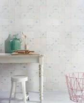 Wallpaper Tiles Matt Old tiles Pale blue Brown white Cream Grey white