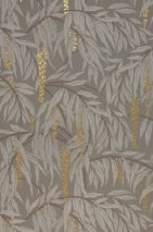 Wallpaper Maringa Hand printed look Matt Branches with leaves and blossoms Quartz grey  Pearl gold Chocolate brown Stone grey
