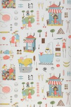 Wallpaper Hettie Matt Fruits Buildings People Sweets Cream Pale brown Pale green Grey Light blue Light yellow Light red