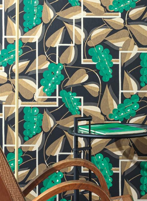 Papier peint Genevieve Mat Feuilles Éléments graphiques Fleurs stylisées Noir Crème Vert Vert marron Ivoire clair brillant