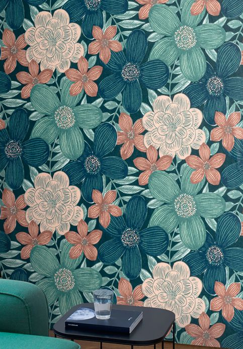 Wallpaper Wallpaper Othilia mint turquoise Room View