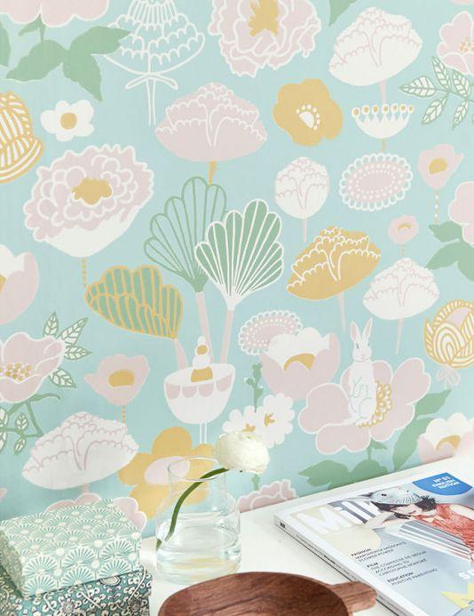 Papel de parede floral Papel de parede Little Light verde Ver quarto