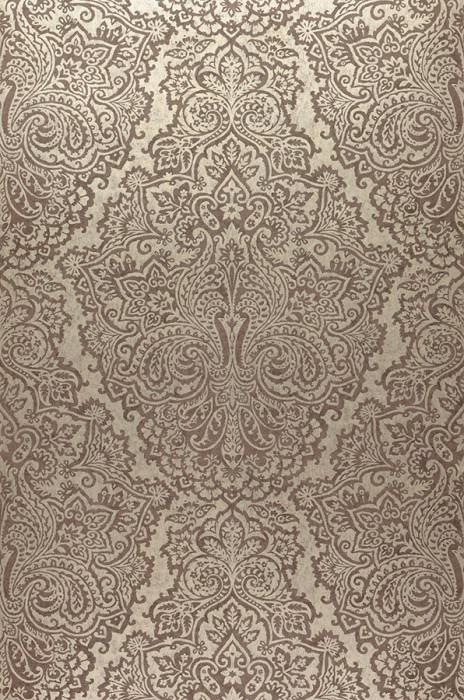 Wallpaper Perun Matt pattern Iridescent base surface Baroque damask White gold Grey brown