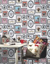 Wallpaper Dogs Only Club Matt Picture frames Hounds White Beige Green Pastel blue Red Black