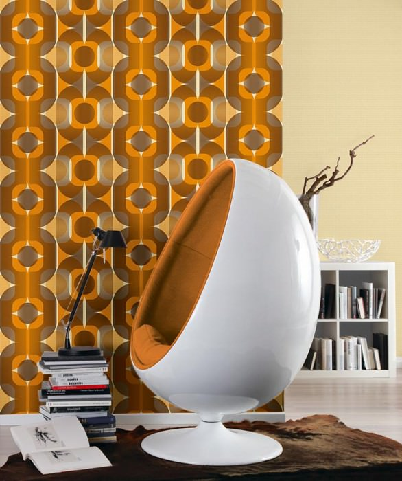 Wallpaper Sinon Matt Retro elements Light ivory Dark grey beige Orange Orange brown