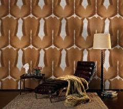Wallpaper Serengeti Matt Imitation fur Brown Cream Light brown