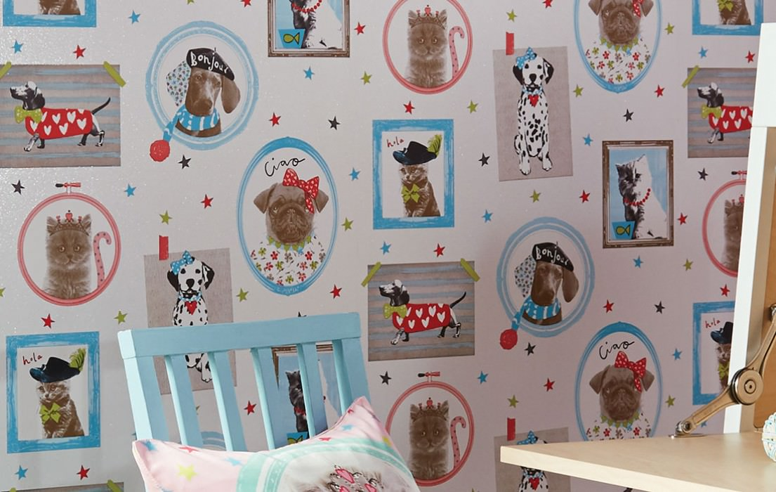Wallpaper Dogs and Cats Matt pattern Shimmering base surface Picture frames Hounds Cats White Yellow green Grey beige Red Turquoise blue